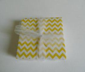 Yellow and White Chevron Coasters