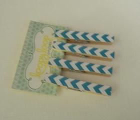 Set of 4 Turquoise and White Chevron Clothespin Magnets
