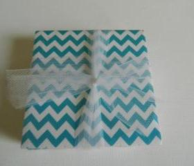 Turquoise and White Chevron Coasters