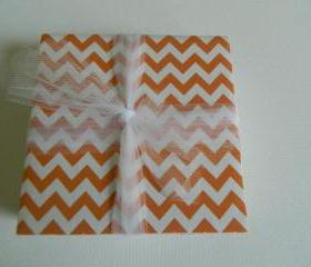 Orange and White Chevron Coasters