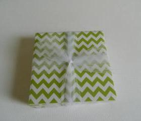 Green and White Chevron Coasters