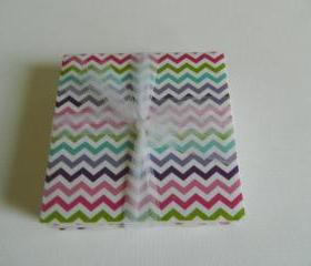 Multi Colored Pastel and White Chevron Coasters