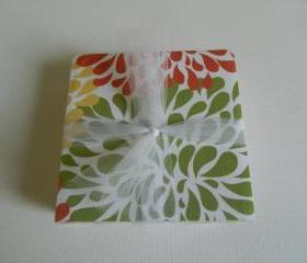Orange, Green and Yellow Burst Tile Print Coasters