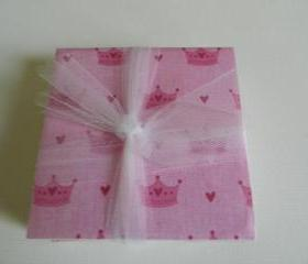 Pink Princess Crown Tile Print Coasters