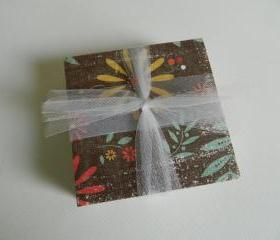 Brown, Yellow, Turquoise and Orange Flower Tile Print Coasters