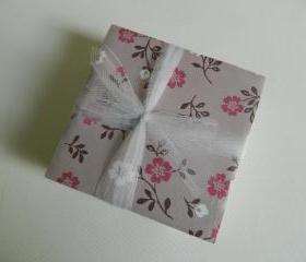 Gray, Pink and White Flower Tile Print Coasters