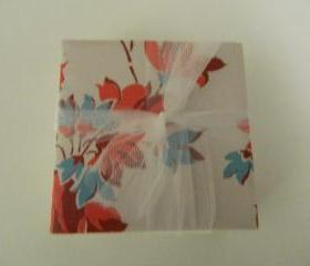 Red and Turquoise Flower Tile Print Coasters