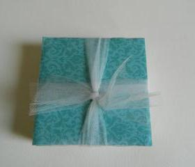 Teal Damask Tile Print Coasters